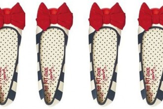 stripe ballet flats with red bow