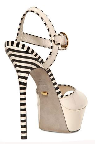 Stripe shoes: Sergio Rossi 130mm Optikala patent leather sandals