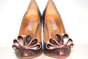 Ted Baker Mayter brown glitter bow court shoes