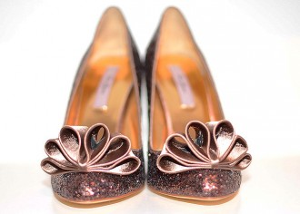 606b6a2392dd4 Ted Baker Mayter brown glitter bow court shoes