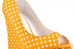 Michael Antonio yellow polka dot wedges