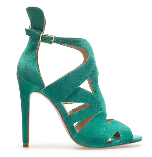 Zara green suede strappy sandals