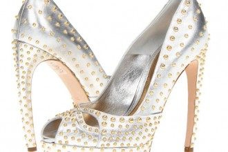 silver Alexander McQueen peep toes with gold studs