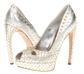 662ca761a61 silver Alexander McQueen peep toes with gold studs