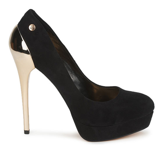 Blink gold-heeled black platforms &gt Shoeperwoman