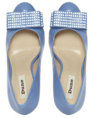 blue shoes with studded bow