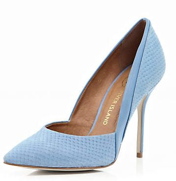 sky blue pointed toe court shoes with stiletto heel