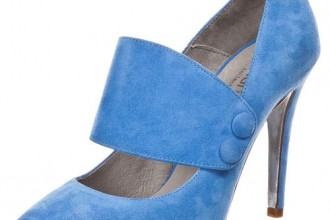 bue suede shoes with high heels and wide strap