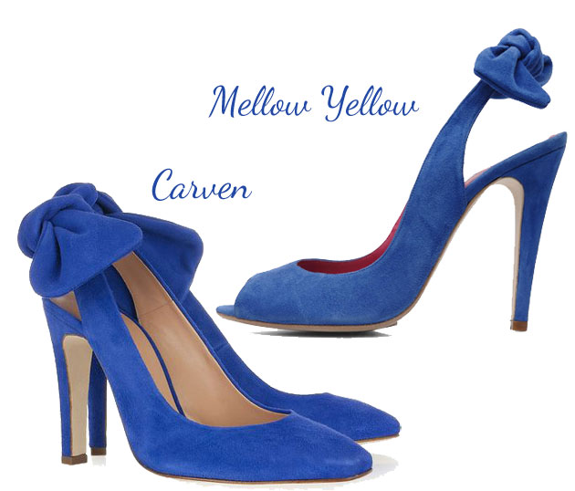 blue bow heel shoes in two styles