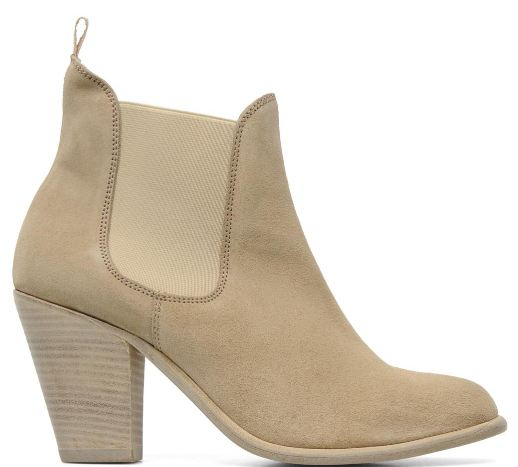 suede camel ankle  boots with low heel