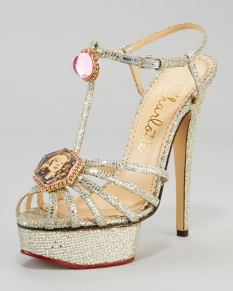 silver sandals with cameo brook on the toe