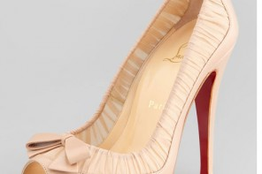 Christian Louboutin Angelique Chiffon & Leather peep toes