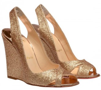Christian Louboutin Maplesoft gold glitter wedges