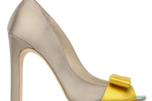 taupe shoe with curved side and yellow bow