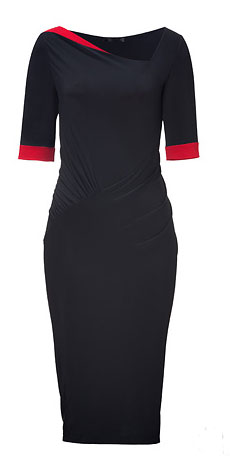 black pencil dress with red accents