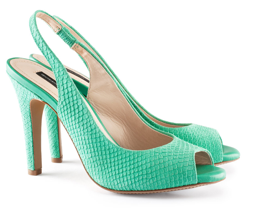 high heeled green suede slingbacks with peep toe