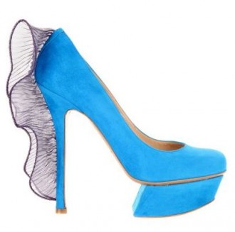 Nicholas Kirkwood blue suede shoes with organza ruffle