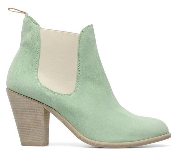 mint green ankle boots with wooden heel and elasticated side