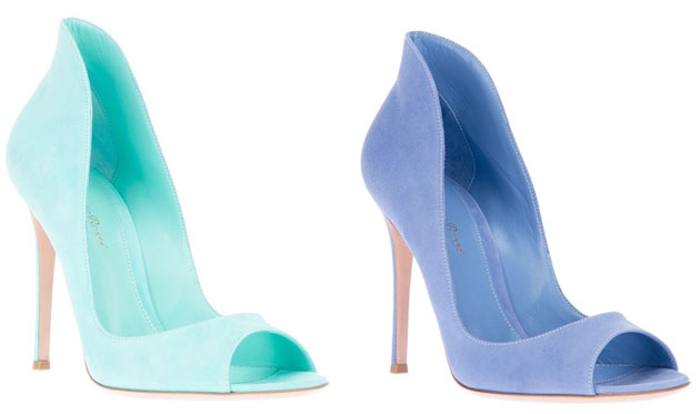 Gianvito Rossi mint and blue suede peep toes