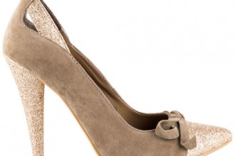 taupe suede shoes with glitter heel and toe by Naughty Monkey