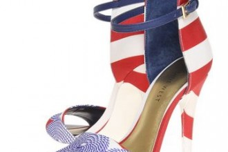 red and white stripe sandals with blue vamp