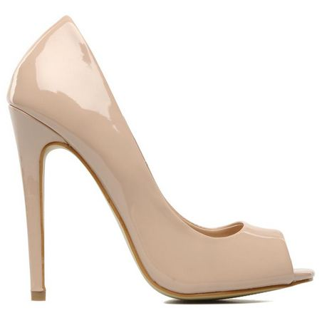 nude patent peep toe shoes with high heel