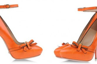 orange pumps with high heel and bow