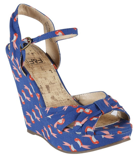 blue parrot print canvas wedges
