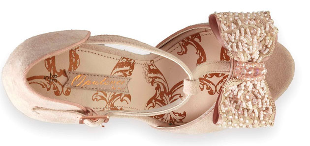 pink shoes with t-bar strap and bow