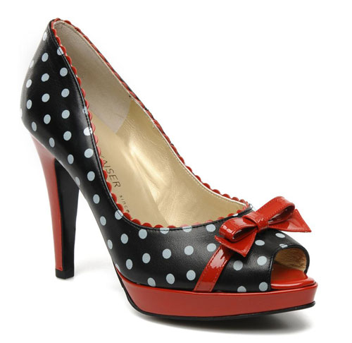 Peter Kaiser 'Paola' polka dot bow peep toes