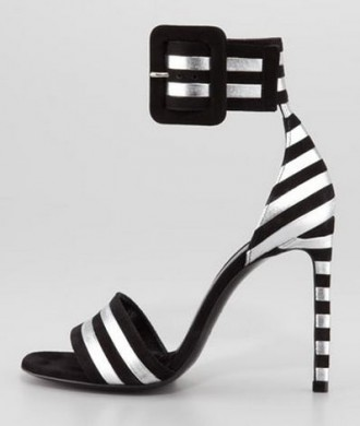 Saint Laurent Paloma Striped Ankle-Strap Sandals
