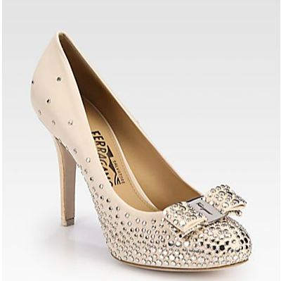 Salvatore Ferragamo Sea Studded Leather Bow Pumps