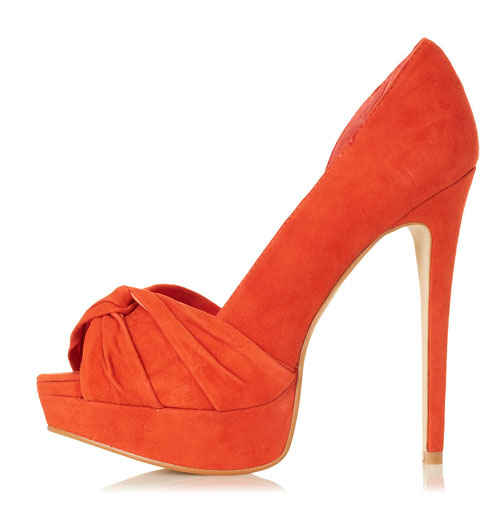 orange shoes with platform sole and peep toe