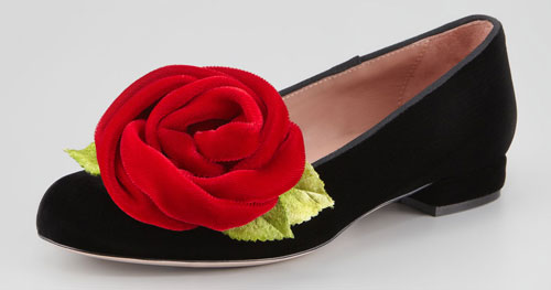 Valentino smoking slippers with rose embellishment