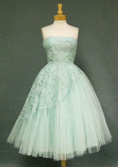 mint green 50s prom dress