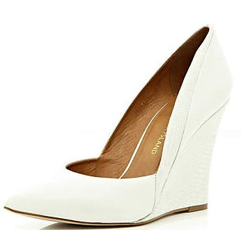 white wedge shoes with pointed toe