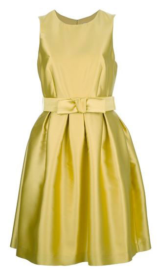 yellow prom dress with bow