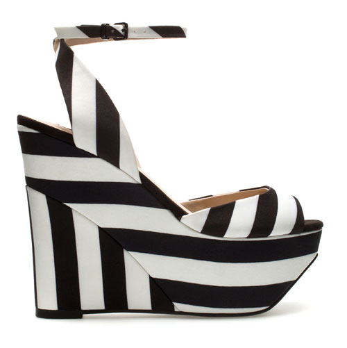black and white stripe platform wedges