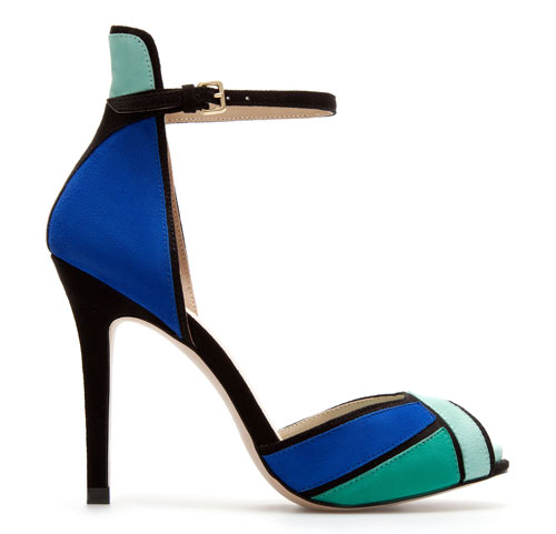 Zara colourblocked ankle strap sandals in green and blue