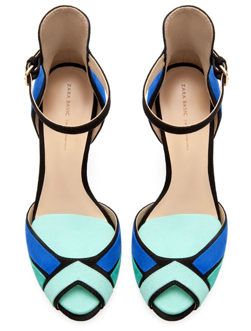 green and blue sandals from Zara