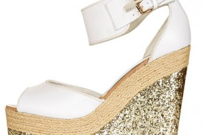 white wedge shoe with gold glitter wedge heel