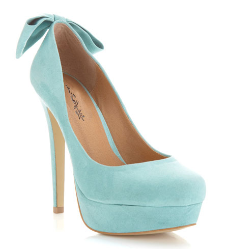 mint green heels with bow on heel