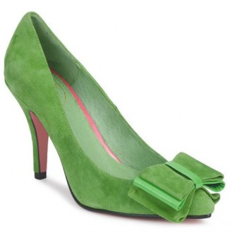 green suede shoes with bow