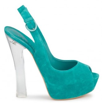 teal shoes with perspex heel