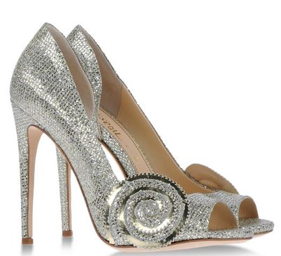 silver designer shoes with high heels and open toe