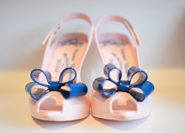 pink Lady Dragon shoes with blue bow