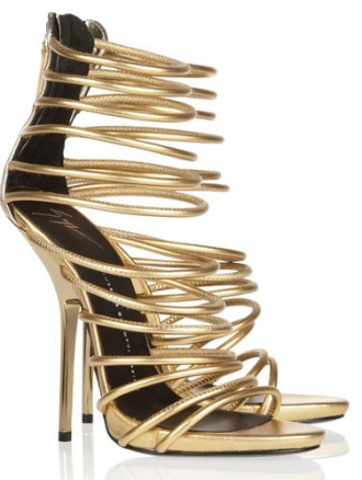 gold strappy high heeled sandals