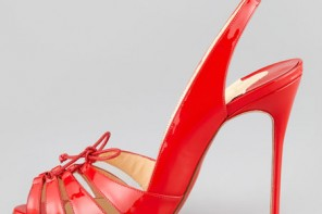 Christian Louboutin high heel shoes in red patent leather