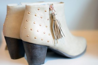 beige ankle boots with studs
