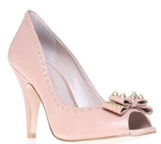 pink peep toes with studded bow
